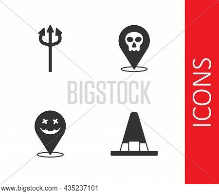 Set Witch Hat, Trident Devil, Happy Halloween Holiday And Skull Icon. Vector
