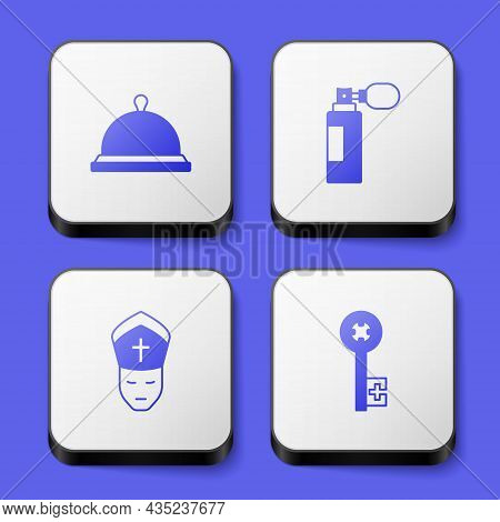 Set Covered With Tray Of Food, Perfume, Pope And Old Key Icon. White Square Button. Vector