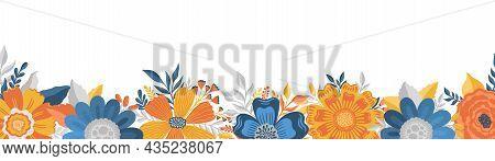 Flower Elongate Frame In Elegant Style.vintage Floral Background.romantic Design Template.