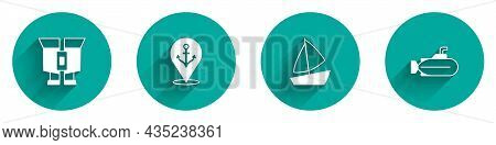 Set Binoculars, Location With Anchor, Yacht Sailboat And Submarine Icon With Long Shadow. Vector