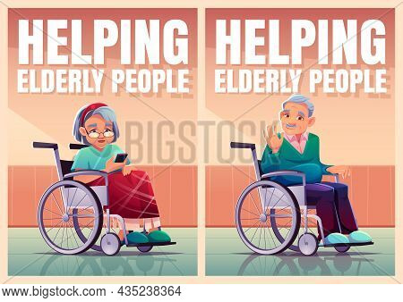 Helping Elderly People Posters With Old Persons Sitting In Wheelchair. Vector Banner Of Aid And Care