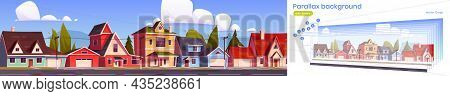 Parallax Background For Game Suburb Houses, Suburban Street With Residential Cottages 2d Cityscape.