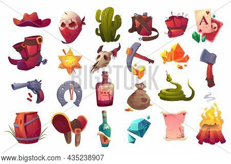 Set Of Wild West Icons Cowboy Hat And Boots, Sheriff Star, Gun, Dynamite And Axe, Skull In Mask, Sna