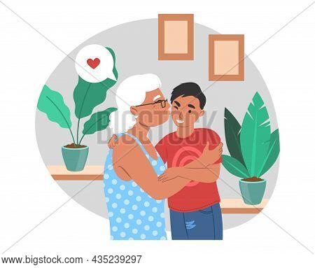 Happy Grandmother Hugging And Kissing Grandson, Flat Vector Illustration. Grandparent Grandchild Rel