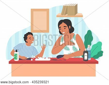 Happy Mother Cleaning House Together With Son, Flat Vector Illustration. Parent Child Relationship,