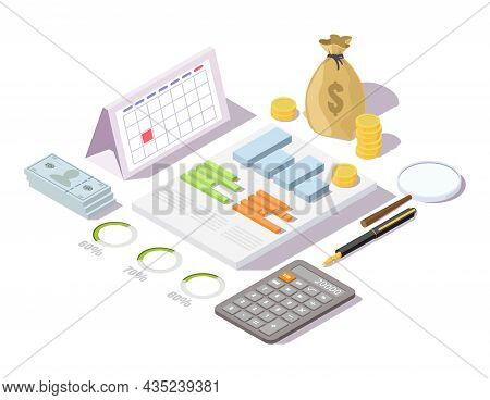 Financial Administration Concept Vector Isometric Illustration. Finance Management, Accounting, Fina