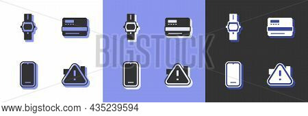Set Exclamation Mark In Triangle, Wrist Watch, Mobile Phone And Credit Card Icon. Vector