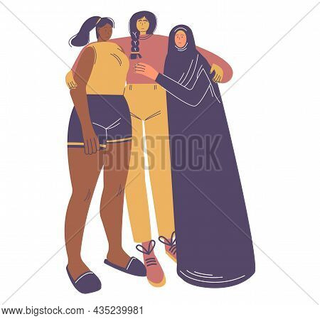 Happy Diverse Girls Hugging Together. International Women Day, 8 March, Feminism, Women Rights, Vect