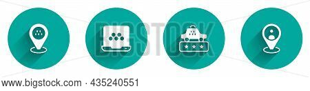 Set Location Taxi Car, Taxi Mobile App, Service Rating And Client Icon With Long Shadow. Vector