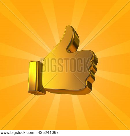 Golden Thumb Up Icon Isolated On Bright Yellow Background. Vector Golden Like Or Okay Icon.