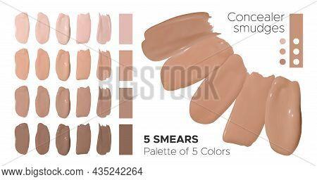 Color Liquid Foundation Smudges. Cosmetic Concealer Texture. Beige Realistic Cream. Face Care Produc