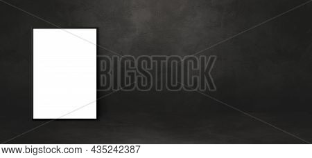 Blank Picture Frame Leaning On A Black Wall. Presentation Mockup Template. Horizontal Banner
