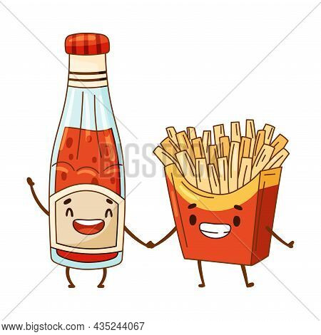 Ketchup Bottle And French Fries Characters Holding By Hands. Perfect Couple, Friends Forever Cartoon