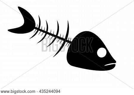 Fishbone Icon Isolated On White Background. Black Fish Bone Silhouette. Fish Skeleton Simple Sign. F