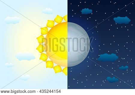 Half Sun And Half Moon As Vernal Or Autumnal Equinox Day Concept. Day And Night With Moon And Sun. E