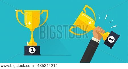 Winner Champion Success Award Golden Cup Vector Or Competition Business Prize Businessman Hand Holdi
