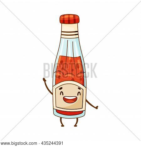 Happy Funny Smiling Ketchup Bottle Cartoon Character Vector Illustration