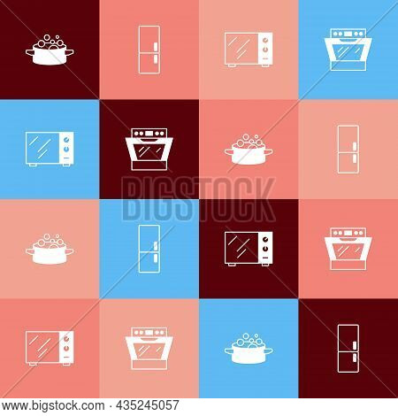 Set Pop Art Cooking Pot, Refrigerator, Microwave Oven And Oven Icon. Vector