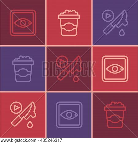 Set Line Rating Movie, Thriller And Popcorn Cardboard Box Icon. Vector