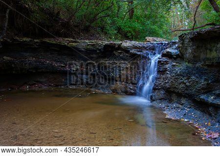A Small Waterfall - Indy Creek In Independence Park - Marquette Heights, Illinois