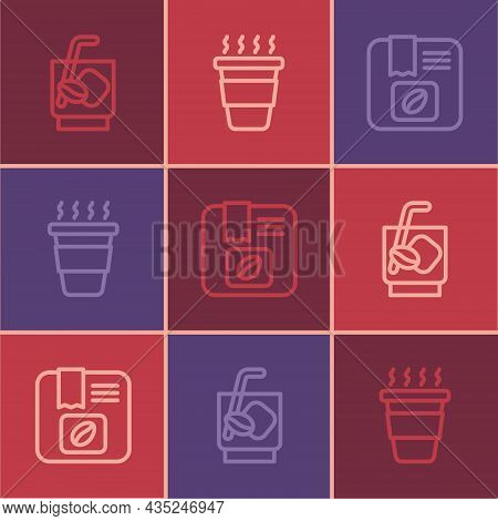 Set Line Espresso Tonic Coffee, Bag Beans And Coffee Cup Go Icon. Vector