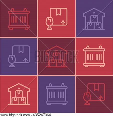 Set Line Container, Full Warehouse And Package Box With Fragile Content Icon. Vector