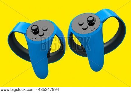 Virtual Reality Blue Controllers For Online And Cloud Gaming On Yellow
