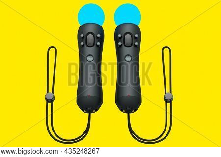 Virtual Reality Black Controllers For Online And Cloud Gaming On Yellow