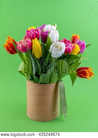 Mix Of Spring Tulips Flowers. Bouquet In A Vase. Multi-colored Spring Flower. Gift. Red, Pink, White