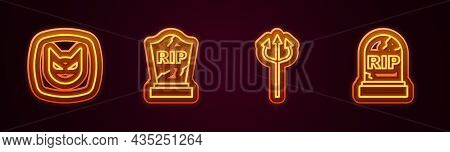 Set Line Black Cat, Tombstone With Rip Written, Trident Devil And . Glowing Neon Icon. Vector