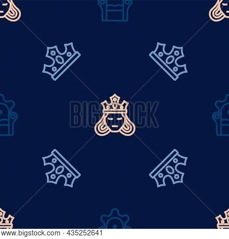 Set Line Medieval Throne, King Crown And Princess Or Queen On Seamless Pattern. Vector