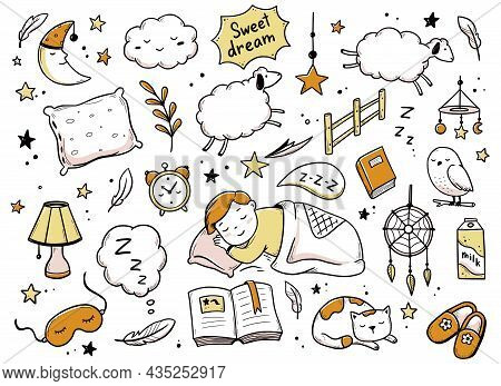 Sleep, Relax Time, Dream Night Doodle Set. Concept Comfort Night Sleep Time. Hand Drawn Sketch Style