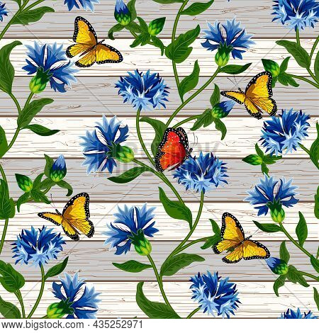 Pattern With Cornflowers On A Wooden Background.vector Pattern With Cornflowers And Butterflies On A