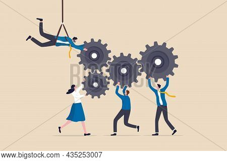 Collaboration Or Cooperate For Team Success, Working Together As Teamwork To Solve Problem And Achie