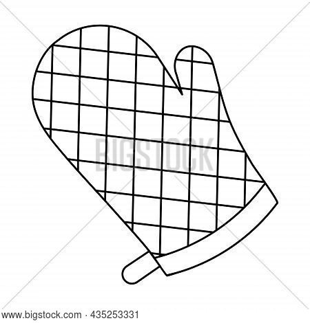 Bbq Mitten. Sketch. Overalls To Protect Hands From Burns. Vector Illustration. Coloring Book For Chi