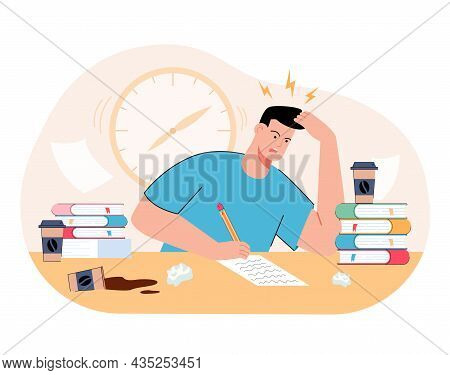 Stressed Millennial Guy Studying Before College Exams. Distressed Student Meeting Deadline Doing Ass