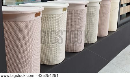 Assortment Of Different New Empty Plastic Laundry Baskets Several. Variation Of Household Goods