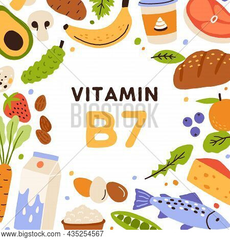 Vitamin B7, Square Card With Natural Nutrients Frame. Healthy Food Sources Of B 7. Organic Nutrition