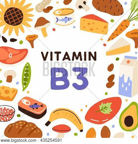 B3, Health Card With Vitamin-rich Natural Food. Healthy Nutrition Enriched With Niacin B 3. Circle F