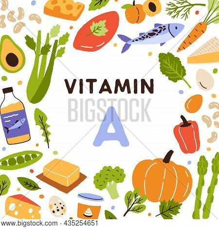 Food Frame Of Nutrition Enriched With Vitamin A. Card With Circle Of Healthy Balanced Natural Produc