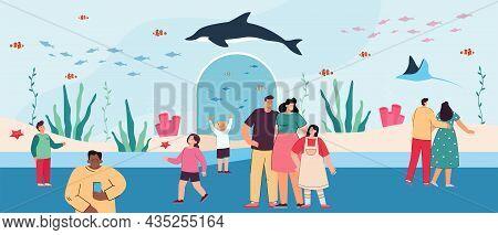 Cartoon Families Walking Around Underwater Zoo. Ocean Aquarium With Sea Creatures Flat Vector Illust