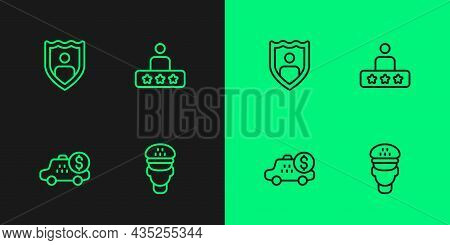 Set Line Taxi Driver, Taximeter Device, Life Insurance With Shield And Service Rating Icon. Vector