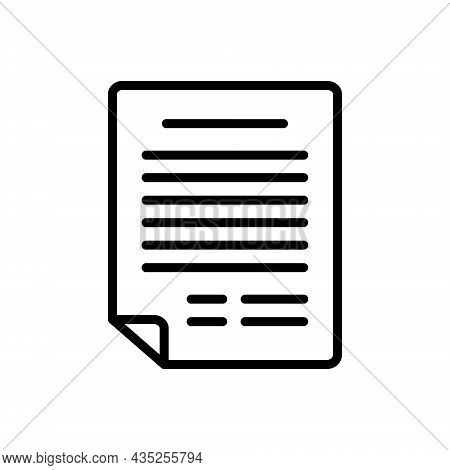 Black Line Icon For Application Document Letter Contract Agreement  Archive Notepad Resume
