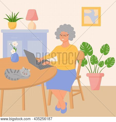 Happy Grandmother With A Laptop Is Sitting In The Living Room. Сozy Interior With Potted Plants And
