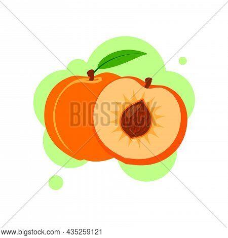 Fresh Peach Icon Vector Illustration. Peach Isolated On White Background. Flat Vector Illustration.