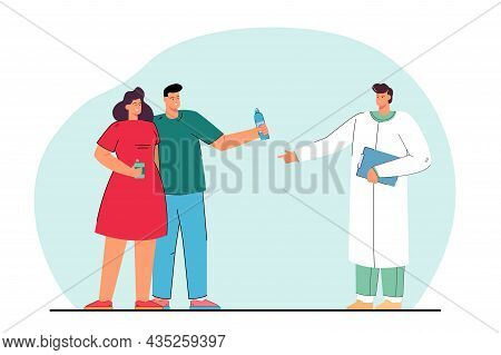 Doctor Recommending Couple Patients Drinking Water. Smiling Man And Woman Holding Bottles Hydrating