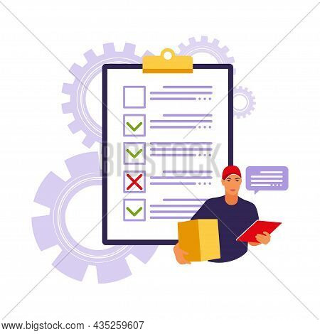 Customs Clearance Concept. Orders Worldwide Shipment Service Agreement. Vector Illustration. Flat.