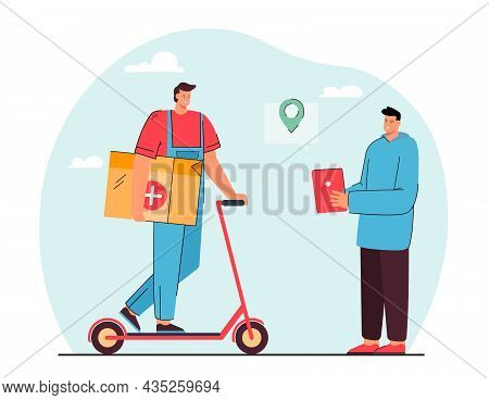 Courier Delivering Medications To Patient Using Online Tracking. Pills Tablets Fast Contactless Home