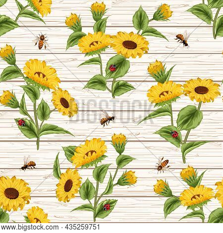 Sunflowers And Insects On A Wooden Background.colored Vector Pattern With Sunflowers And Insects On