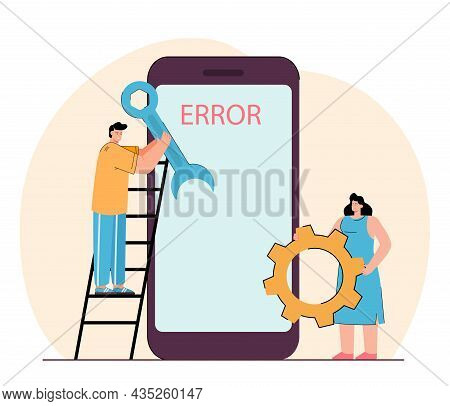 People Trying Repairing Smartphone Showing Error Notice. Flat Vector Illustration Banner. Man And Wo